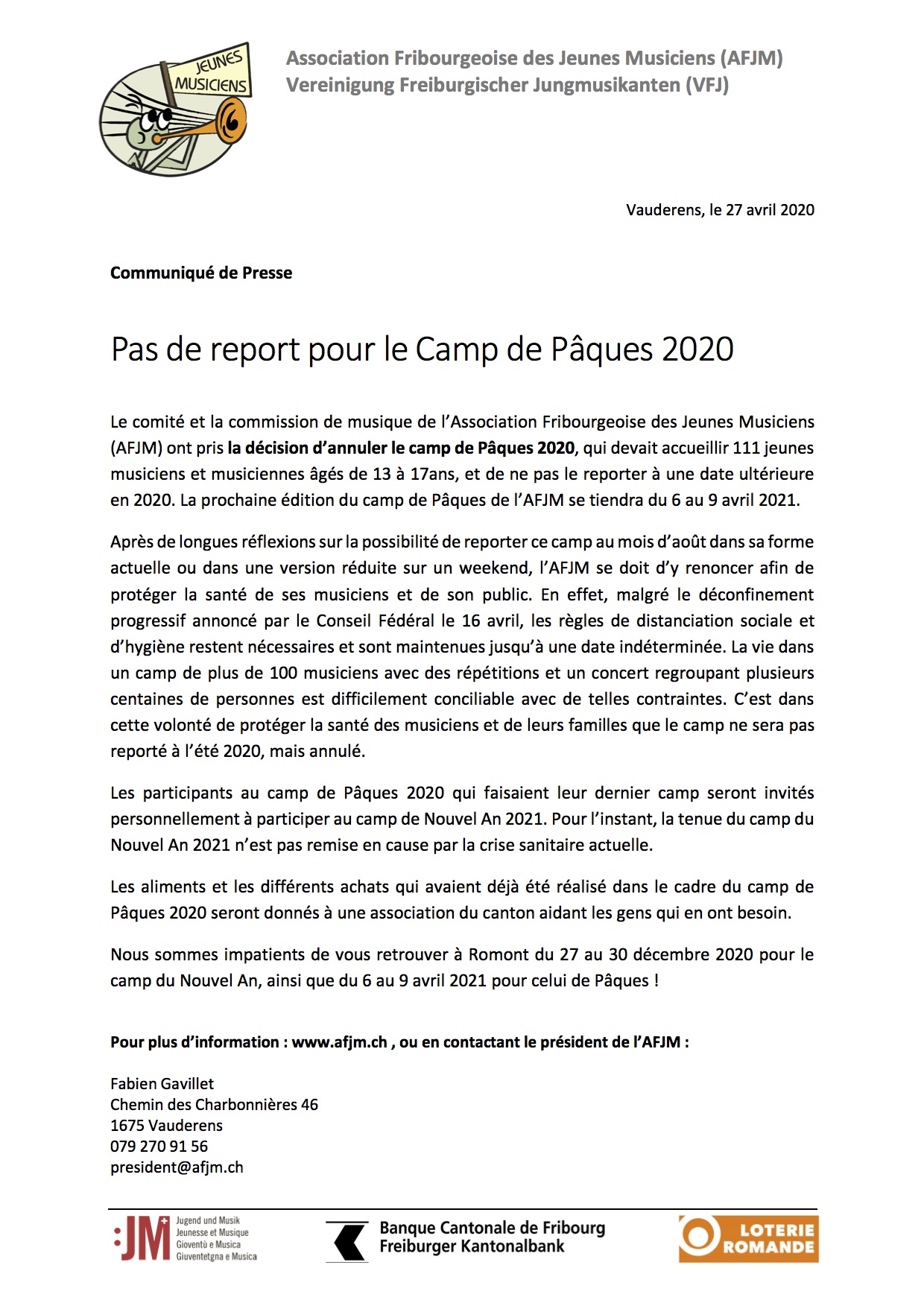 AFJM Annulation camp paques 2020